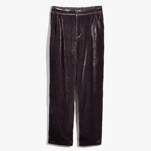 Madewell Gray Velvet Tapered Pleat Pull-On Pants L